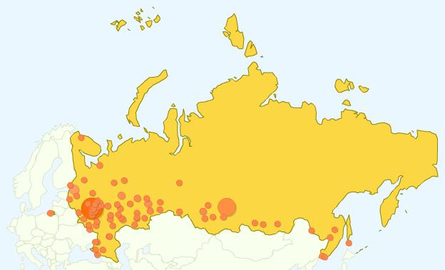 География посетителей блога в России